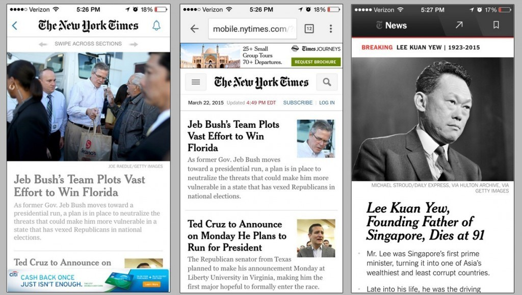 從左到右分別為 舊版紐約時報 app,紐約時報 M-web,新版紐約時報 app