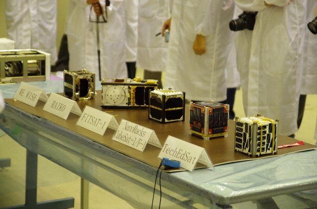 F-1_and_other_CubeSats_at_TKSC