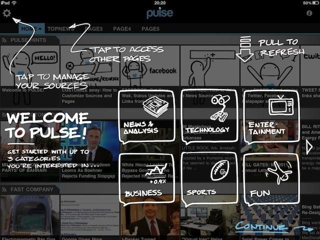 Pulse 新聞 app 的導引畫面。