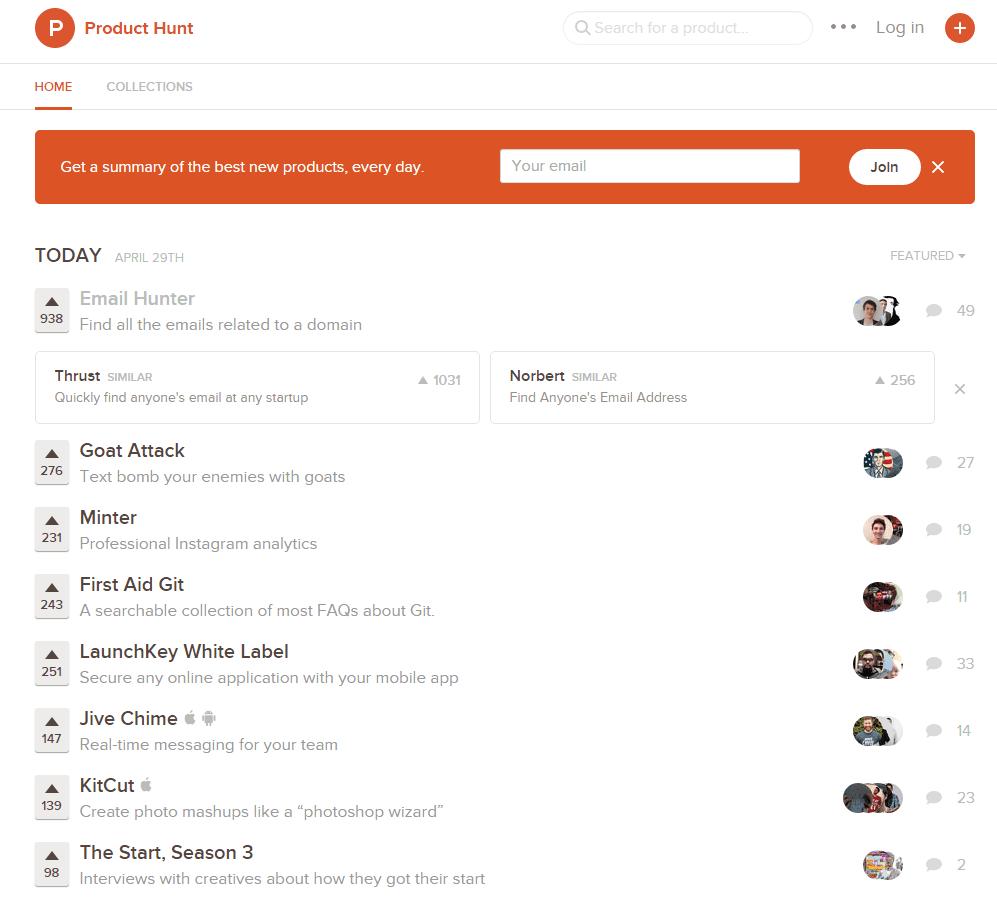 Product Hunt 提供每日排行榜服務