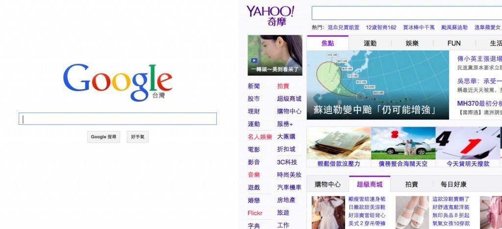 Google 與 Yahoo!奇摩的比較