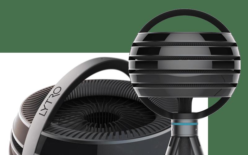 Lytro 360度VR攝影機以球體造型設計,每一層包含攝影機與光場感測器,能捕捉豐富的影像資訊。圖片來源 Lytro 官網截圖