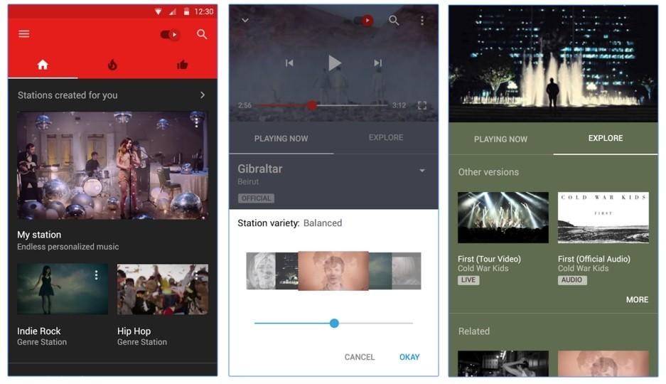 YouTube Music App 分成首頁、熱門與最愛三個頁面。續播功能還可以調整音樂的多樣性。圖片來源: Youtube官網截圖