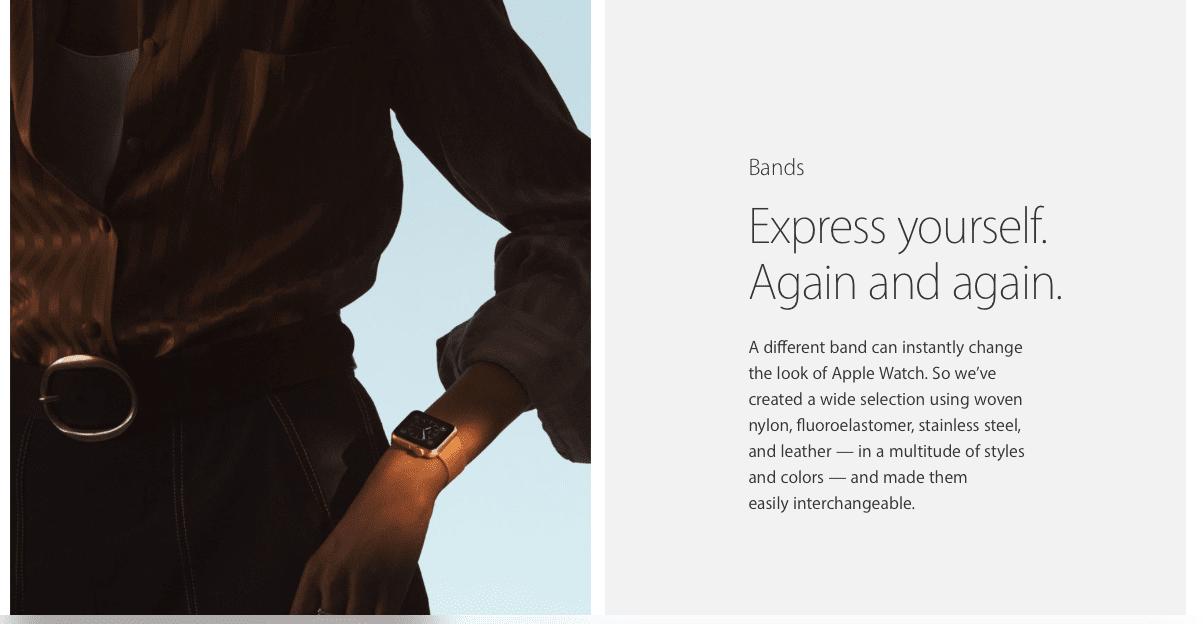 Apple 一直將 Apple Watch 當作時尚配件來經營。圖片來源:Apple 官網