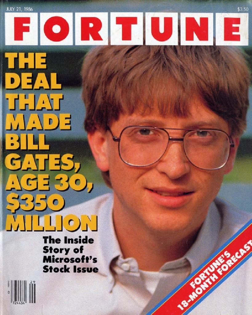 1986 年,Fortune 雜誌以專文分析此事的封面照。 (標題:這筆讓 30 歲的 Bill Gates 賺進 3 億 5 千萬美金的交易)圖片來源:Fortune