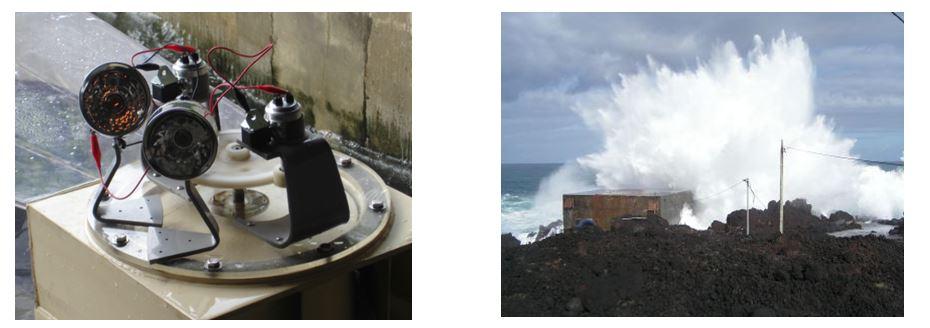 左圖:水工模型發電情形 。右圖:葡屬 Pico 島上的 OWC 海浪發電廠。