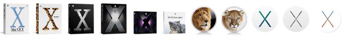 """歷年來的 Mac OS X 包裝及 Logo 。(自 10.8 """"Lion"""" 版本起,便沒有再發行實體光碟版本。)圖片來源:Wiki"""
