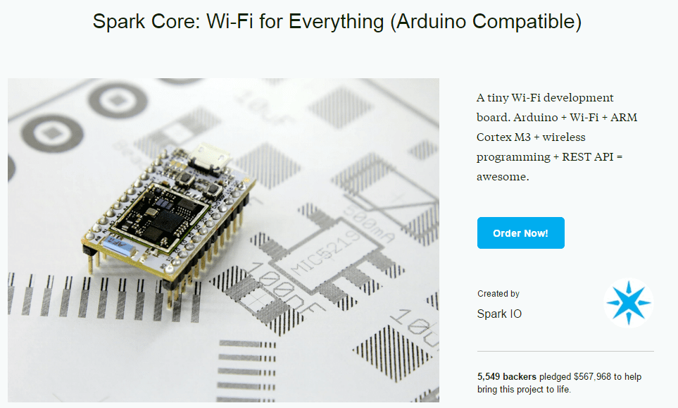 Spark 的第二個募資產品 Spark Core(圖片來源:Kickstarter 網站截圖)