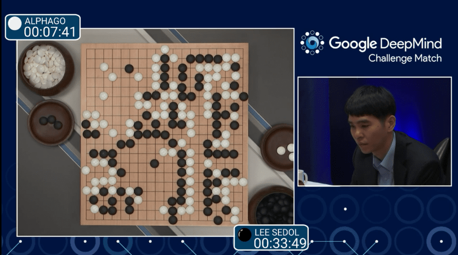 圖片來源:「Match 1 - Google DeepMind Challenge Match: Lee Sedol vs AlphaGo」影片截圖