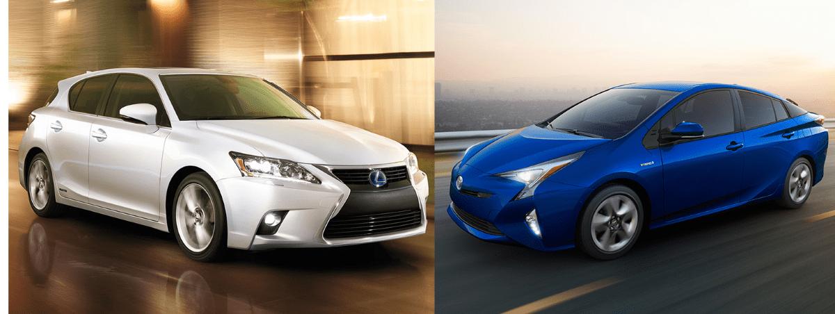 Lexus 的 CT 和 Toyota 的 Prius 油電混合車,造型設計偏向實際或圓潤。圖片來源:Lexus(左) Toyota (右)