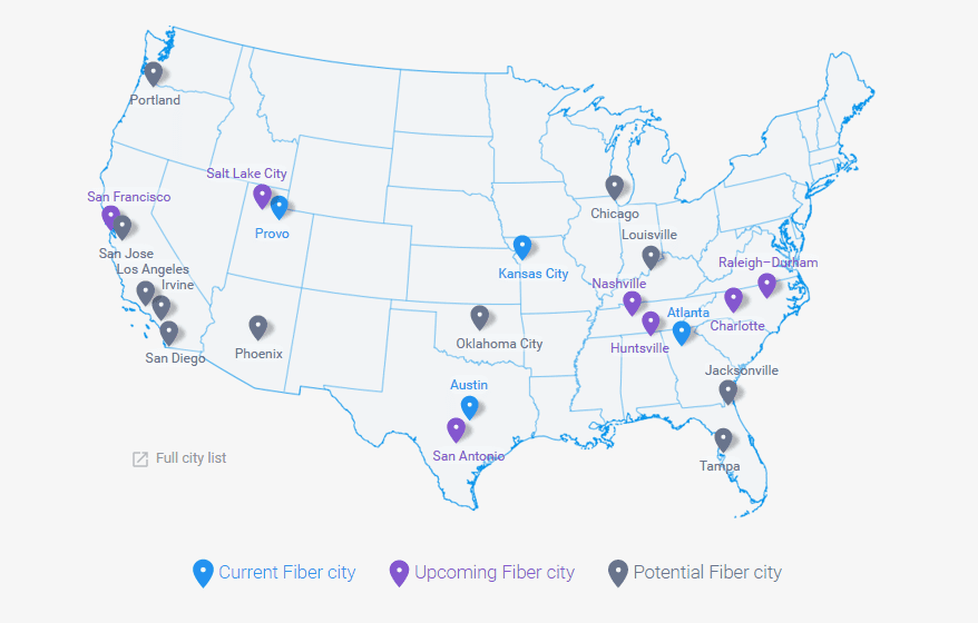 Google Fiber 網路服務在美國城市的發展情況。圖片來源:Google Fiber