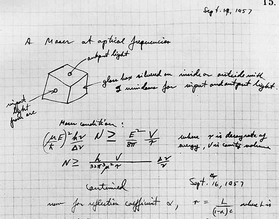 1957 年科學家湯斯在筆記本上描述「光學版的 MASER 儀器」。圖片來源:Courtesy South Carolina State Museum