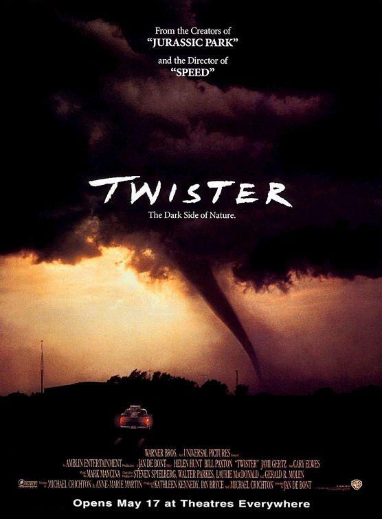 《龍捲風Twister》電影海報。圖片來源:Traileraddict
