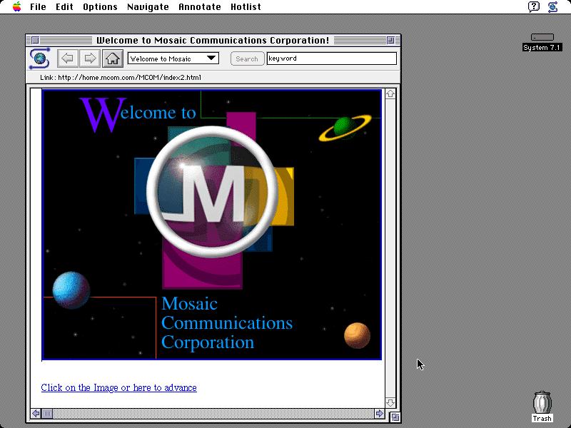 正在展示 Mosaic 通訊公司(後更名為 Netscape )網頁的 Mosaic 1.0 瀏覽器。 圖片來源:Wikipedia