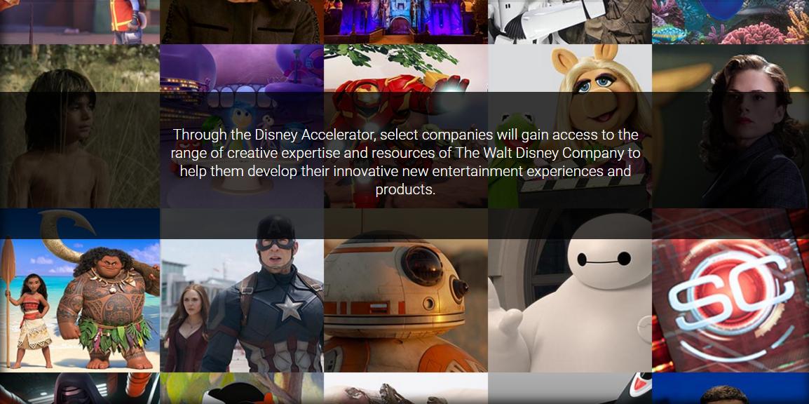 迪士尼公司也有加速器(圖片來源:Disney Accelerator 網站截圖