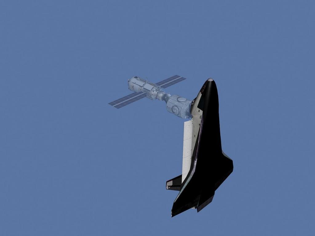 發現號與國際太空站對接的模擬示意圖。圖片來源:Wikipedia