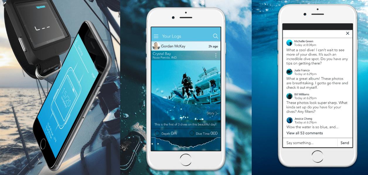 Deepblu 潛水電腦錶能記錄潛水的過程與各項數據,並上傳分享至平台上(圖片截自 Deepblu 網站)