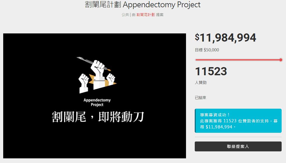 割闌尾計畫至今仍是平台上最多人贊助的專案(圖片截自 flyingV 網站)