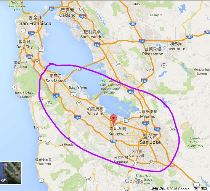 矽谷主要位在這個區域,不過因推特等公司設在舊金山,所以偶爾也有人加上舊金山