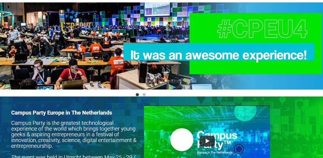 2016 的歐洲 Campus party 在荷蘭的烏特勒支舉辦(截自 Campus party 2016 網站)