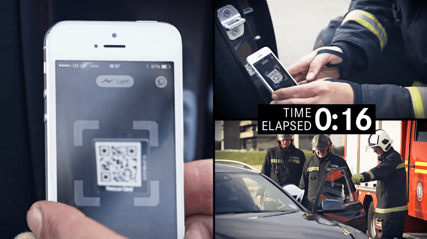 圖片來源:「Mercedes-Benz Rescue Assist: QR Codes」影片截圖