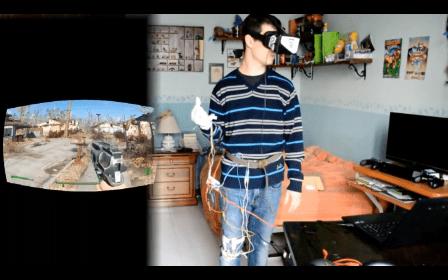 VR 遊戲與現實畫面對比。圖片來源:Fallout 4 con Play VR! 影片截圖