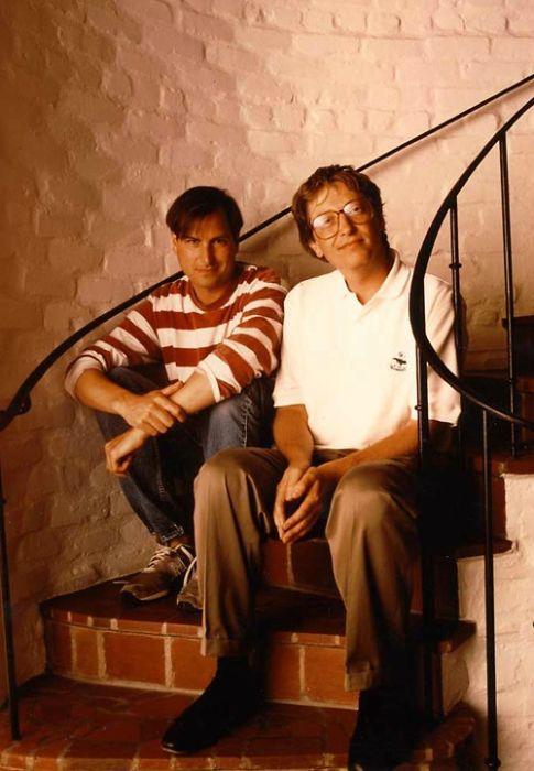 賈伯斯與比爾・蓋茲(1991年)。圖片來源:SoniaT 360. @flickr , CC Licensed
