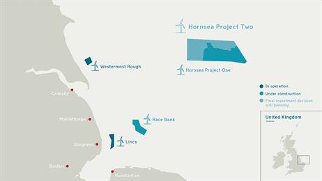 Hornsea 計畫第二階段。圖片來源:Dong energy