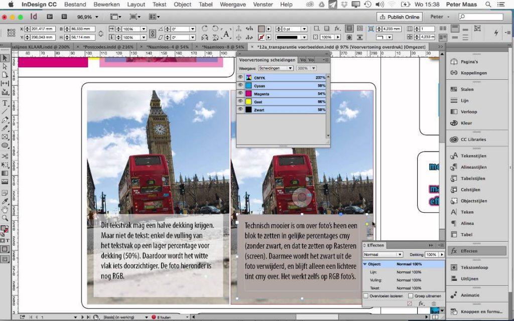 Adobe Indesign 操作介面。 圖片來源:youtube 影片截圖
