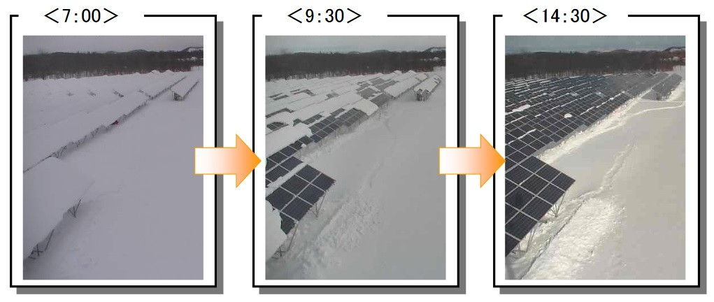 2016年2月11日的監視畫面,可見積雪逐漸滑落的狀況。照片來源:弘前市