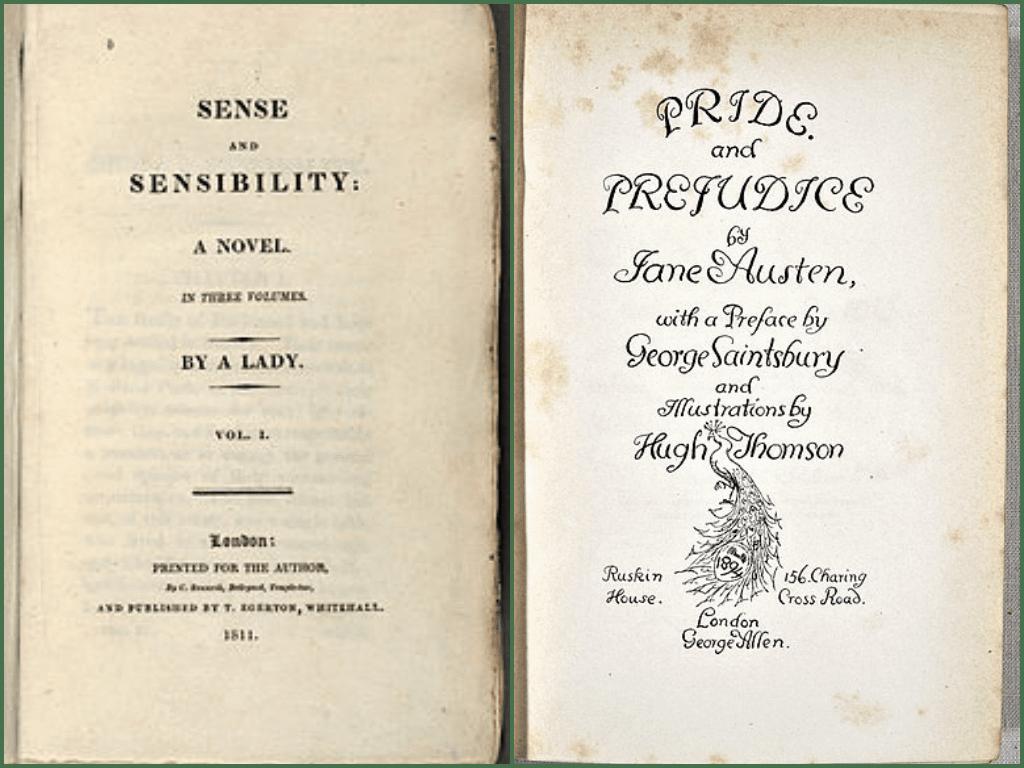 《理性與感性》、《傲慢與偏見》皆為作家珍‧奧斯汀之作品(Photo from wikipedia)