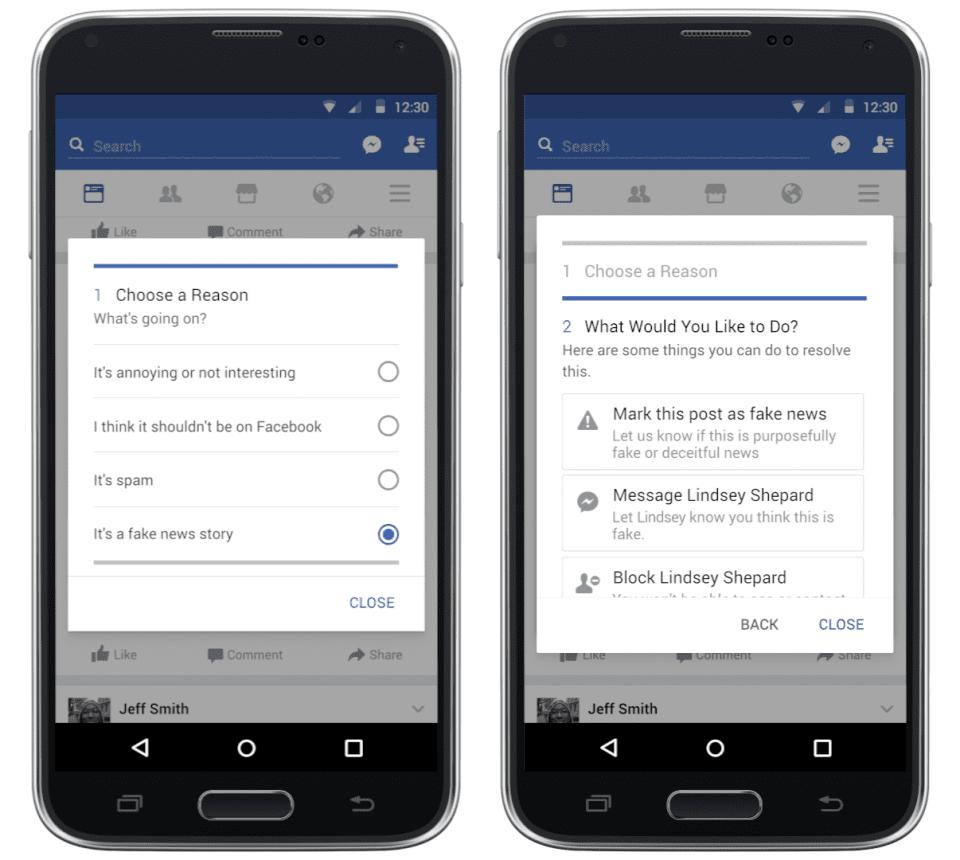 Facebook 為加大力度過濾假文章,推出了全新的假新聞標記功能。